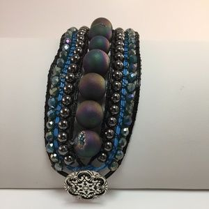 NWOT Handcrafted leather and gem cuff bracelet